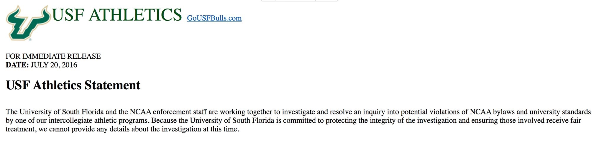 USF Official Statement on NCAA Investigating South Florida Men's Basketball